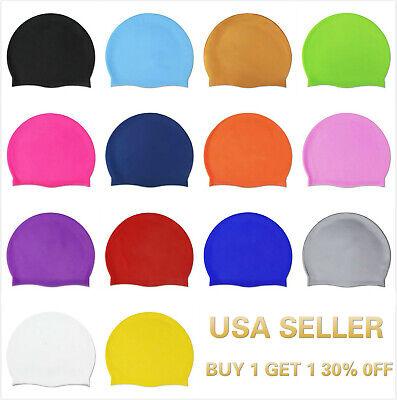 Silicone Swimming Cap Solid Color Long Hair Clean Swim Pool For Adult Men (Mens Swim Caps)