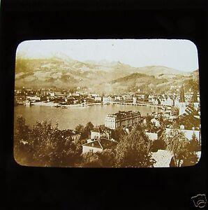 Glass-Magic-lantern-slide-LUCERNE-GENERAL-VIEW-SEPIA-C1890-SWITZERLAND