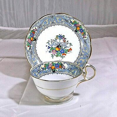 Royal Albert Blue Fruit & Floral Teacup & Saucer, Blue Swirl Trim, Gift Idea ()