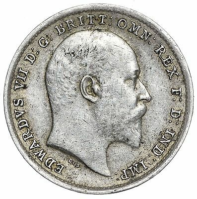 1902 THREEPENCE - EDWARD VII BRITISH SILVER COIN - NICE