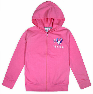 Girls Minnie Mouse Jumper Zipped Hoodie Pink Disney Top Ages 2 3 4 5 6 8 Years