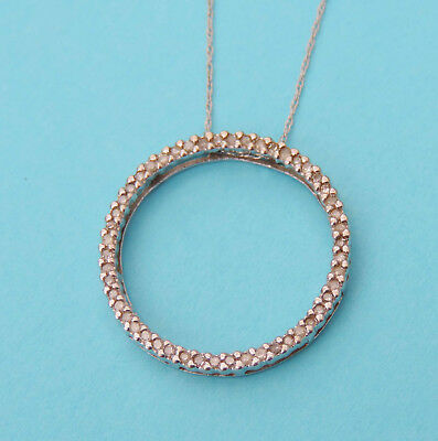 Ladies Circle Pendant w/ 50 Genuine Diamonds - 10k White Gold - 18 Inch Chain