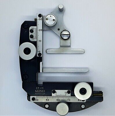 Microscope Xy Stage And Slide Holder Clip Micrometer Lomo St-11