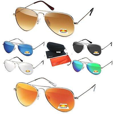 Sonnenbrille Pilotenbrille Flieger Brille Polarisiert Verspiegelt Metall GP BOX