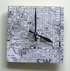 Handmade wood wall clock. Face is vintage map of Washington,DC. Limited edition.