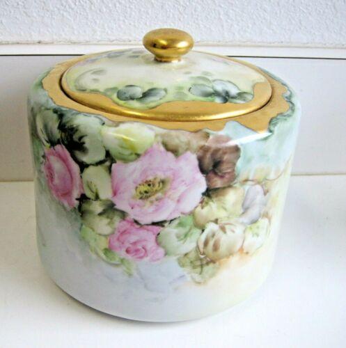 Antique German Porcelain handpainted floral jar c1914-1918