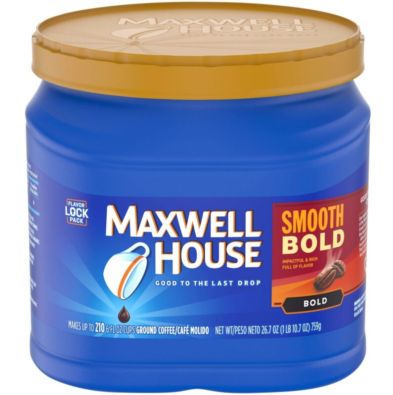Maxwell House Smooth Bold Roast Ground Coffee (26.8 oz Canister)