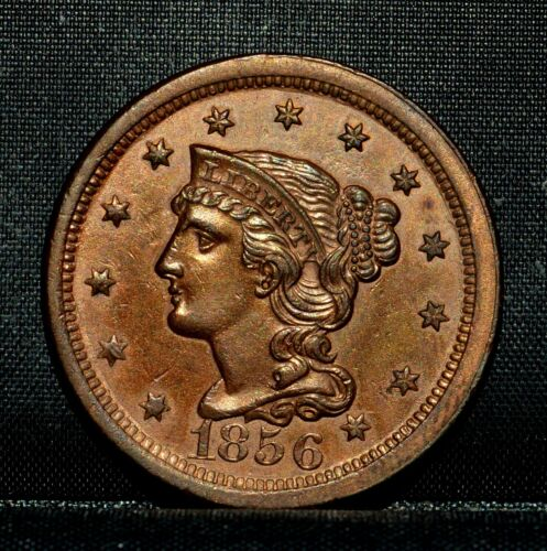 1856 BRAIDED HAIR LARGE CENT ✪ UNC DETAILS ✪ 1C UNCIRCULATED UPRIGHT 5 ◢TRUSTED◣