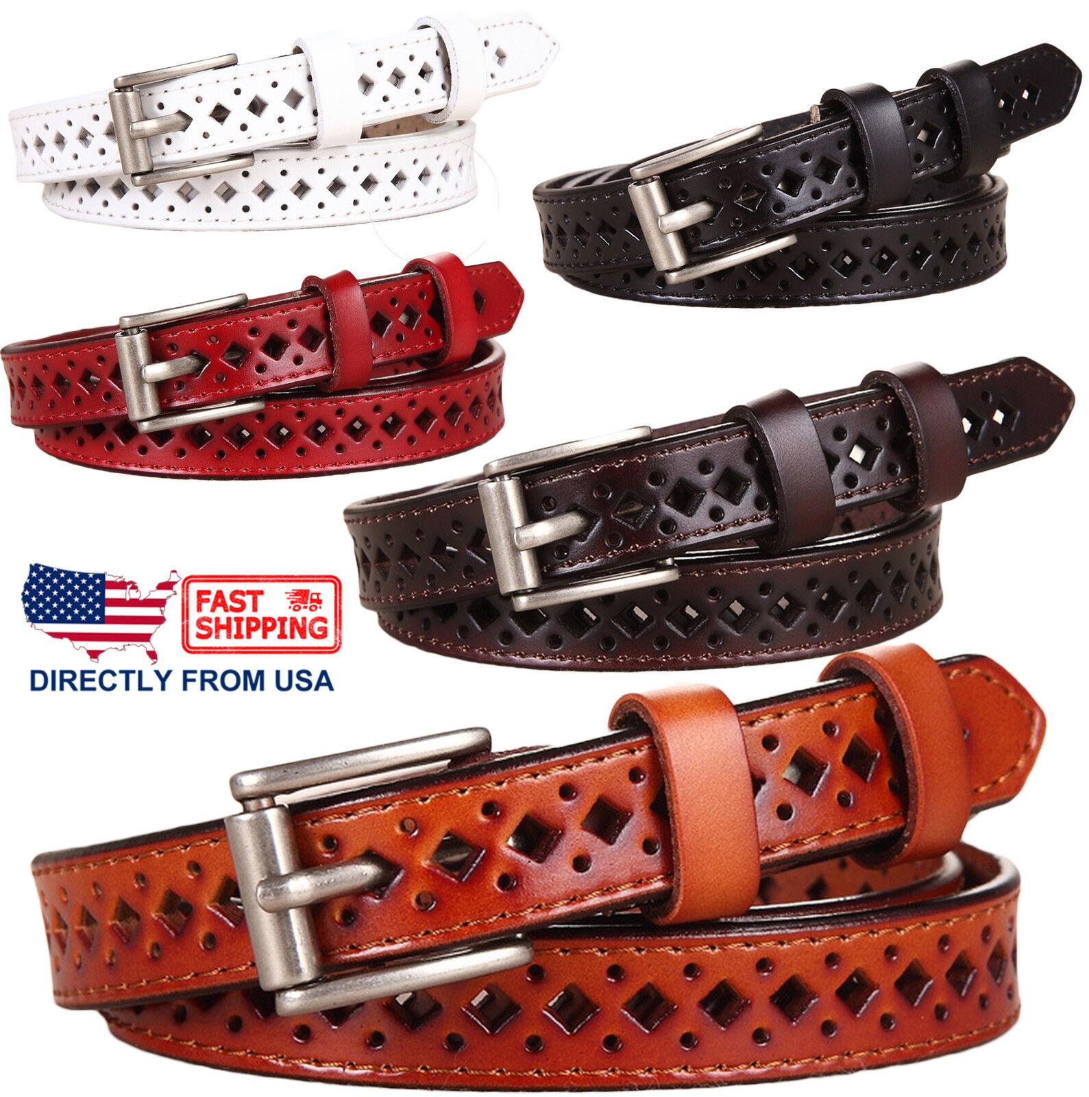 Women's Skinny Belt Handcrafted Genuine Leather Belt Belts