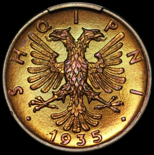 1935-R Albania 1 Qindar Ar Bronze Coin - PCGS MS 66 RB - KM# 14 - TOP POP-1