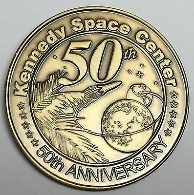 N607     NASA  SPACE  COIN /  MEDAL,   50th ANNIVERSARY OF KENNEDY SPACE CENTER