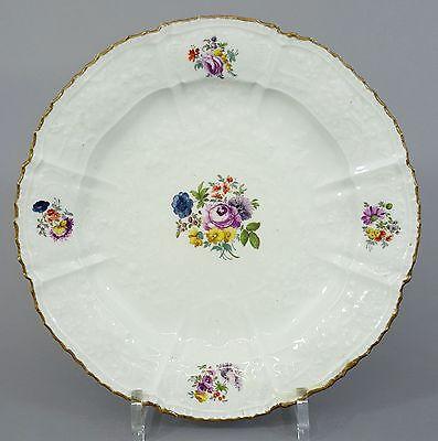 (MT031) Barocker Meissen Teller, Gotzkowski Relief, Blumen Motiv, um 1750