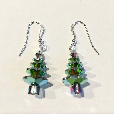 CHRISTMAS TREE EARRINGS made with VITRAIL MEDIUM SWAROVSKI CRYSTALS Jewelry, SS ()