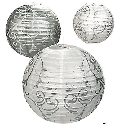 9 Silver White Swirl Paper LANTERNS Wedding Hanging Decorations