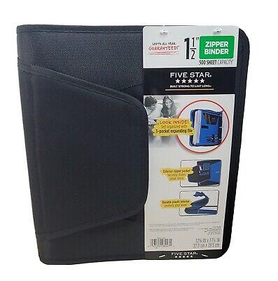 Five Star 1-12 Inch Zipper Pocket 3 Ring Binder 3 Pocket Expanding File Black