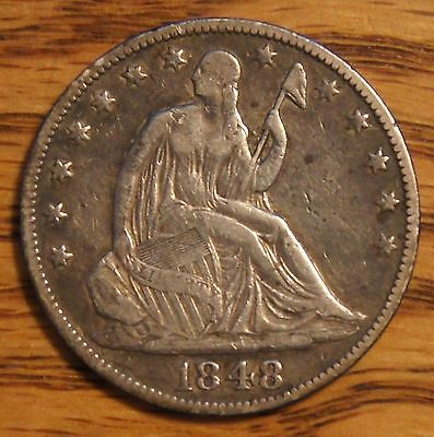 1848-O SEATED LIBERTY HALF DOLLAR-50C OVER 160 YEARS OLD -VF TO XF