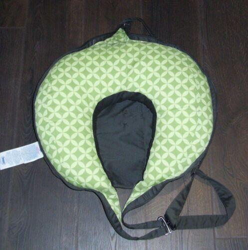 Travel Boppy Pillow Black Gray Dots Green Fold Zip Up Shoulder Strap