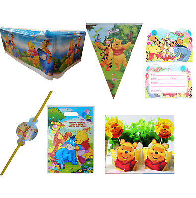 WINNIE THE POOH PARTY BANNER TABLECOVER INVITES STRAWS PARTY BAG CUPCAKE WRAPPER - Winnie The Pooh Party
