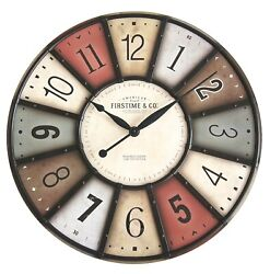 Round Wooden Large Wall Clock Glass Lens Farmhouse Multi Color Living Room 27