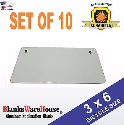 3 X 6 Bicycle License Plate Blanks -dye Sublimation Printing Blanks 10 Piece
