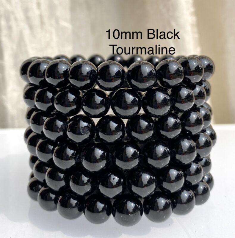 "Wholesale Lot 6 Pcs Black Tourmaline 10mm 8"" Crystal Healing Stretch Bracelet"