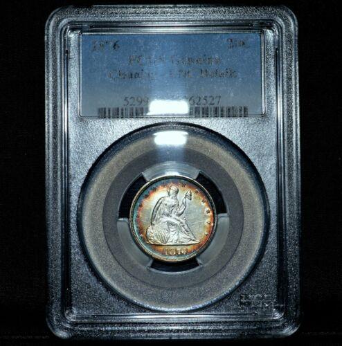 1876-P 20 CENT PIECE ✪ PCGS UNC DETAILS ✪ 20C SILVER RAINBOW TONED 527 ◢TRUSTED◣