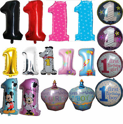 NUMBER 1 / ONE FIRST 1ST FIRST BIRTHDAY BALLOON BABY BOY GIRL PARTY SUPPLIES - First Birthday Balloon