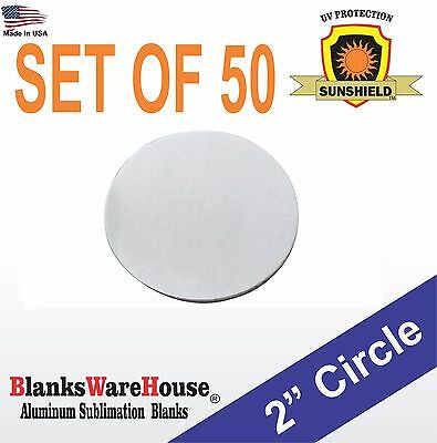 50 Pieces 2 Circle Sublimation Blanks Trophy Supply .025 Gauge No Hole