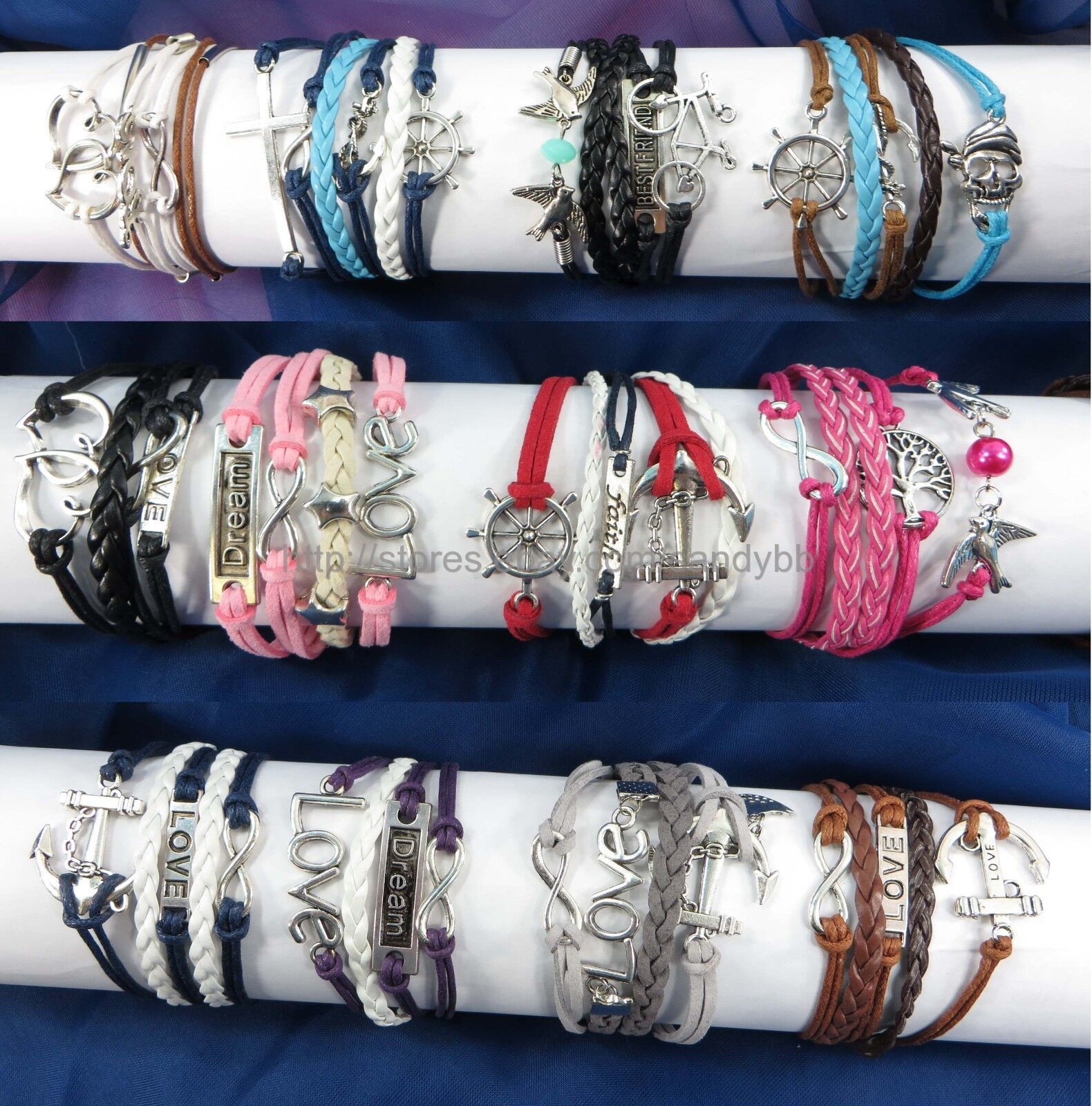 080 each  US Seller  50 pcs infinity charm bracelet wholesale jewelry lot