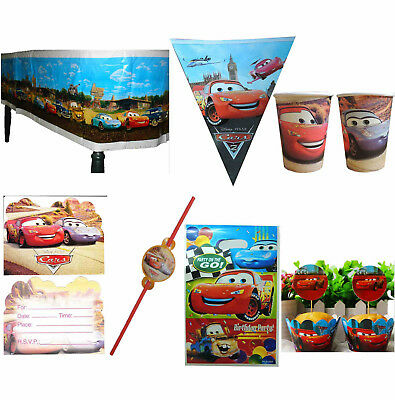 CARS LIGHTNING MCQUEEN BANNER PARTY CAKE TABLECLOTH INVITATION GIFT BAGS STRAWS