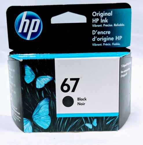 Genuine OEM HP 67 Standard Cap Single Black Ink Cartridge Expires 2022 - New!