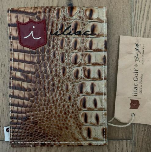iliac Golf Yardage Book Scorecard Cover Brown Leather Italian Croc USA Made New