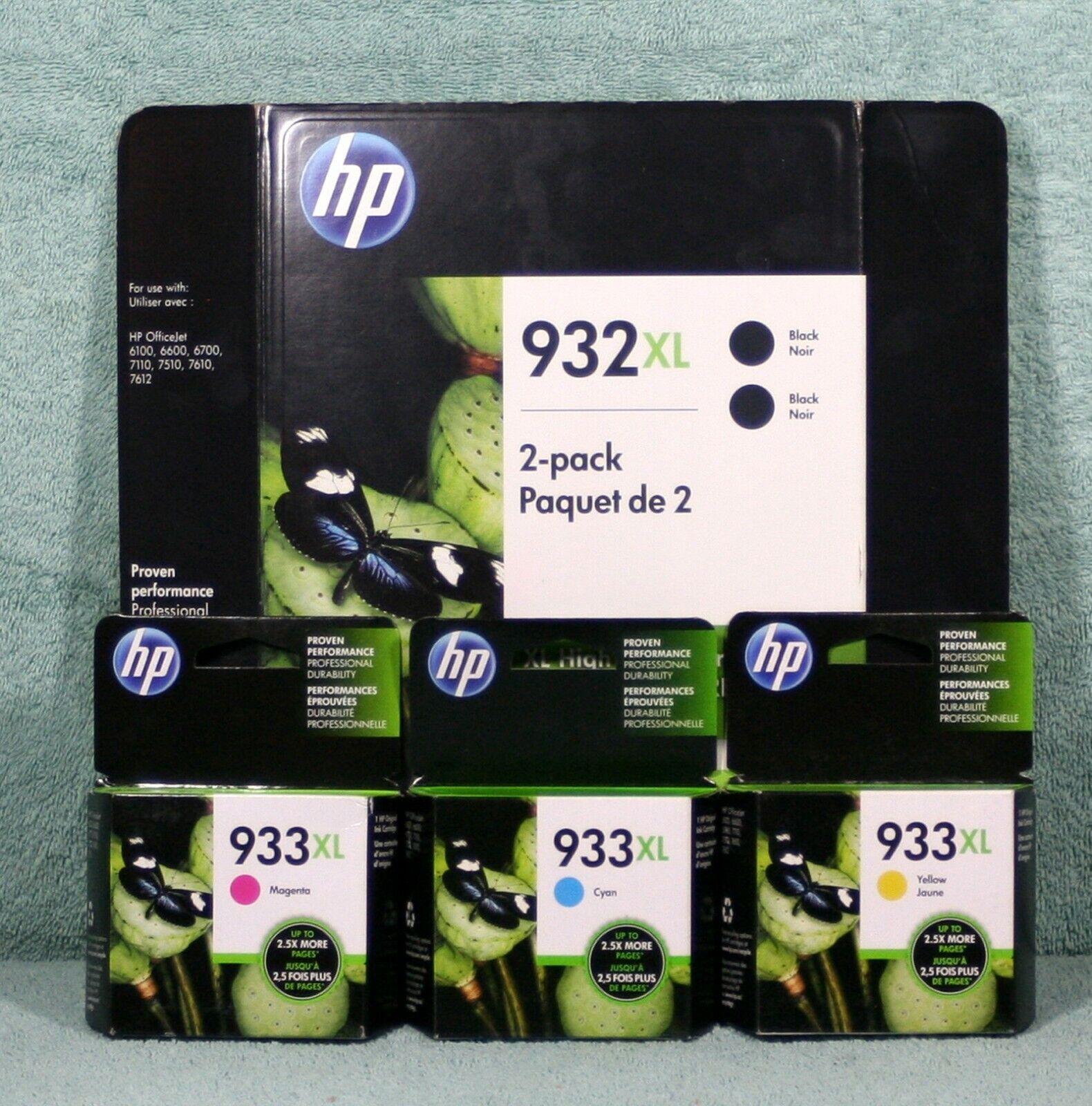 5 New HP 932XL Black 2 Ea HP 933XL C/M/Y 1ea OEM NIB Exp 08/19 To 03/20  - $32.95