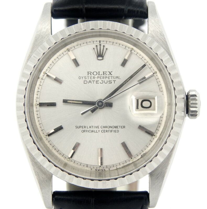 Rolex Datejust Mens Ss Stainless Steel Black Strap Band Silver Dial Watch 1603
