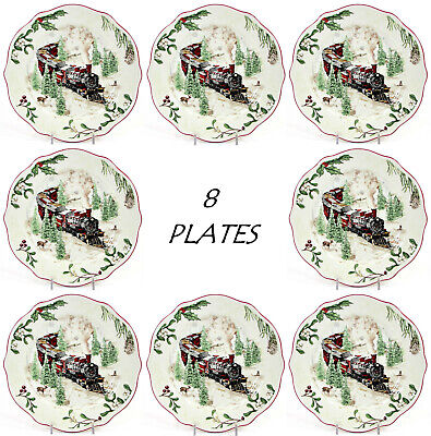 "NEW Better Homes & Gardens WINTER FOREST - TRAIN 8.75"" Salad Plate Set Heritage"