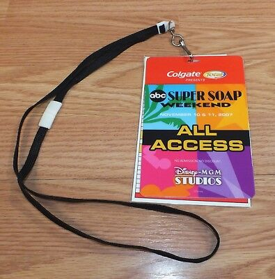 Disney MGM Studios November 2007 ABC Super Soap Weekend All Access Pass Lanyard