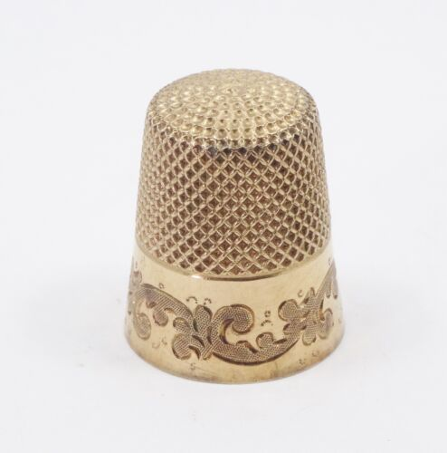 ANTIQUE ORNATE VICTORIAN 14K SOLID YELLOW GOLD THIMBLE NO MONO SIZE 7  5.8g 19mm