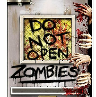 Halloween Open Door (5ft ZOMBIE Invasion DO NOT OPEN Enter Bathroom Door Cover Halloween)