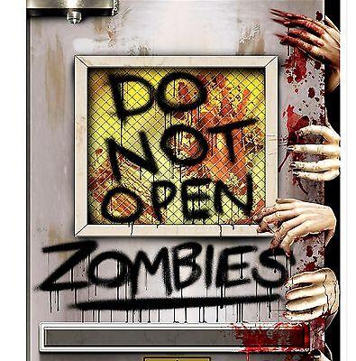 5ft ZOMBIE Invasion DO NOT OPEN Enter Bathroom Door Cover Halloween - Halloween Open Door