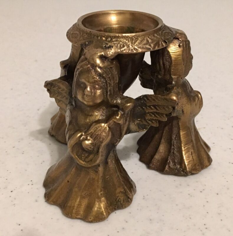"""Brass Triple Winged Angel Fairy Musical Instrument 2.75"""" Tall Candle Holder"""