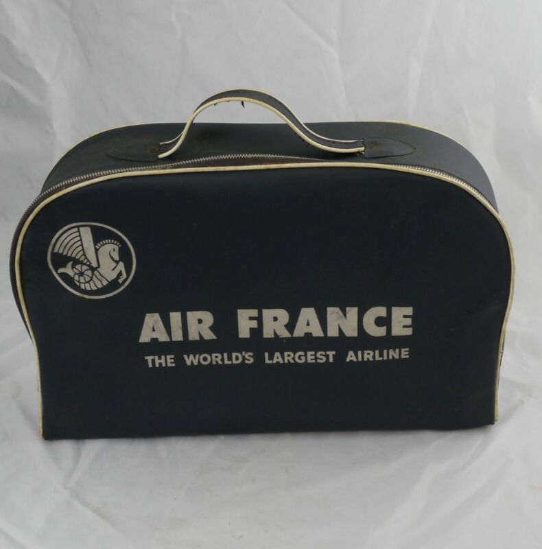 "Vintage Air France Carry on Bag Blue Vinyl 11"" x 17"" Excellent"