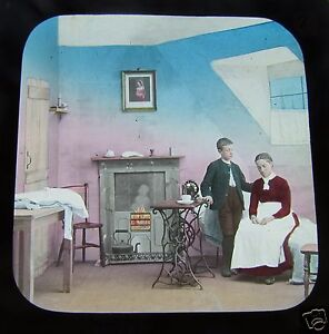 Glass-Magic-lantern-slide-A-FRIEND-IN-NEED-NO7-C1890-VICTORIAN-SOCIAL-HISTORY