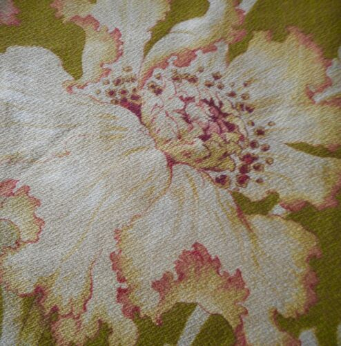 Antique French Art Nouveau Floral Poppy Cotton Fabric #2~ Rose Pink Olive Ochre