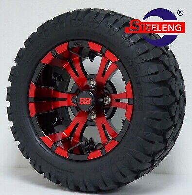 "GOLF CART 12"" BLACK/RED VAMPIRE WHEELS and 20"" STINGER ALL TERRAIN DOT TIRES"