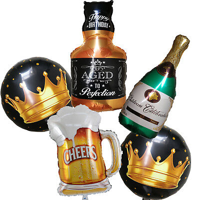 Whiskey Wine Bottle Beer Cup Balloon 30th 40th 50th 60th Birthday Party Supplies (40th Birthday Party Supplies)