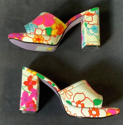 Vtg 90s Mainframe Neon Floral Chunky Heel Platform Slide Sandals Club shoes 8.5