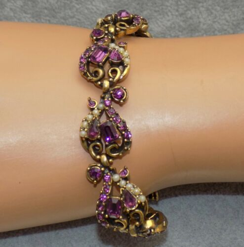 Vintage HOLLYCRAFT Faux Pearl & Purple Amethyst Rhinestone Link Bracelet