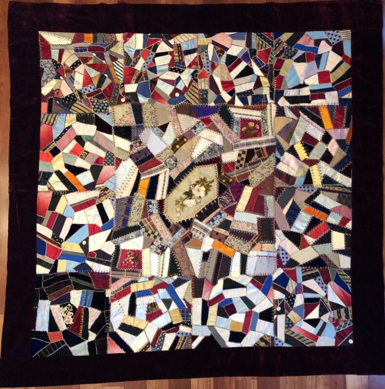 Early 1900's Victorian Floral Center Medallion Crazy Quilt