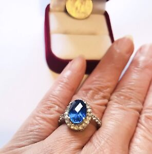 Created Blue & White Sapphires in Sterling Silver Size7