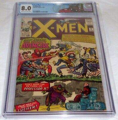X-Men #9 CGC Universal Grade Comic 8.0 1st Meeting Avengers Lucifer Marvel Girl